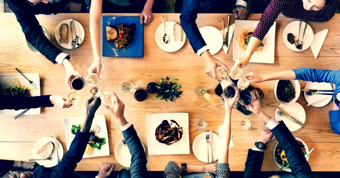 Business Partners Enjoying a Celebratory Dinner