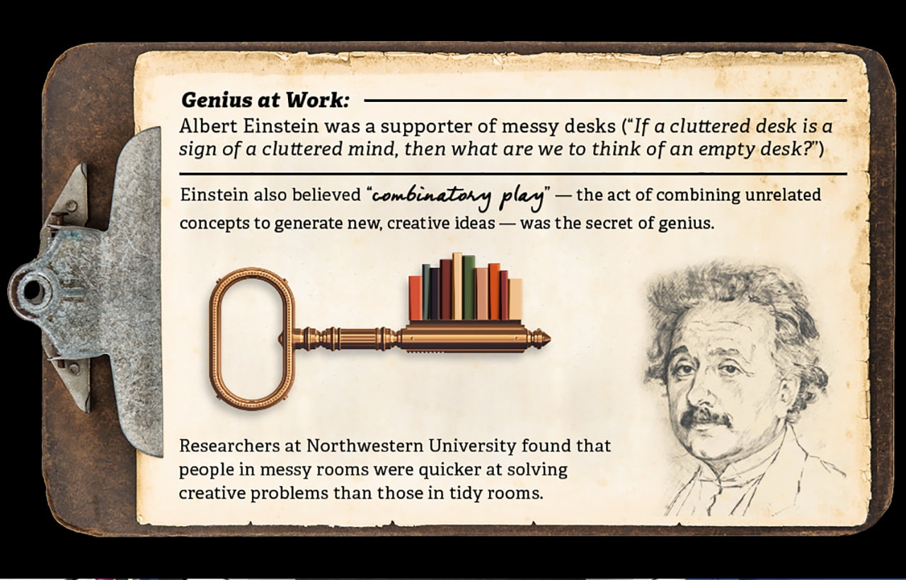 Albert Einstein's messy desk style and his belief in combinatory play