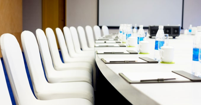 Hotel Conference Room Stocked for Meeting