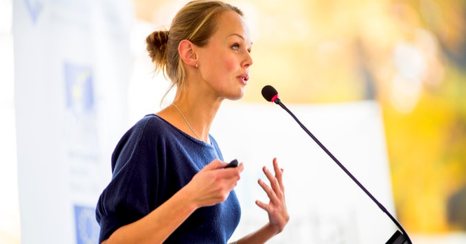 Businesswoman Presenting at a Work Conference
