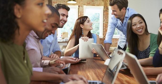 Coworkers Brainstorming Around Table