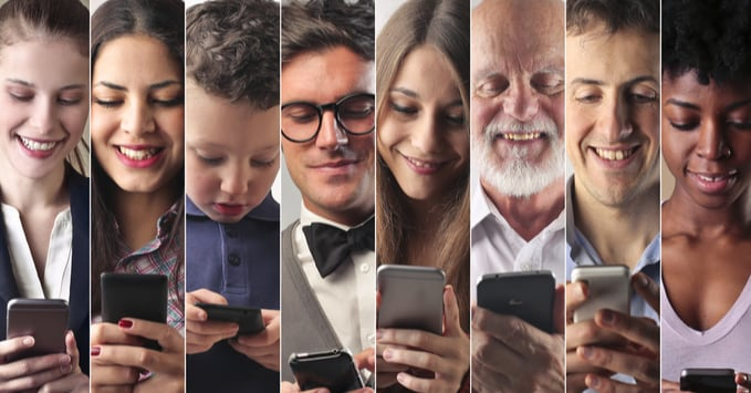 Group of People Receiving Personalized Marketing Messages