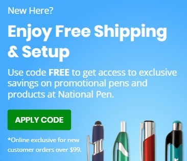 Enjoy Free Shipping and Setup on Promotional Pens