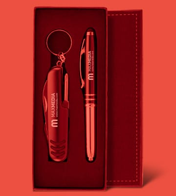 Branded luxury writing gift sets with company message